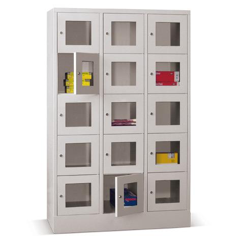 Schließfachschrank mit Sichtfenster PAVOY® mit 3 x 4 Fächern, Breite 1230 mm
