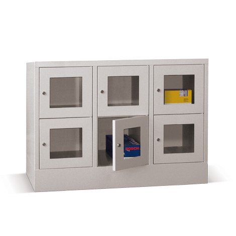 Schließfachschrank mit Sichtfenster PAVOY® mit 3 x 5 Fächern, Breite 1230 mm