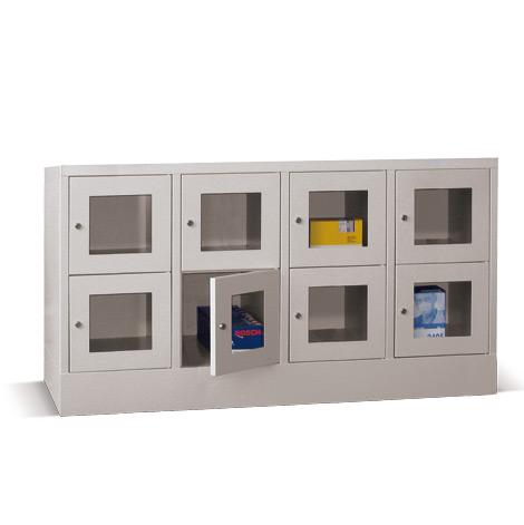 Schließfachschrank mit Sichtfenster PAVOY® mit 4 x 2 Fächern, Breite 1630 mm