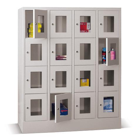 Schließfachschrank mit Sichtfenster PAVOY® mit 4 x 4 Fächern, Breite 1230 mm