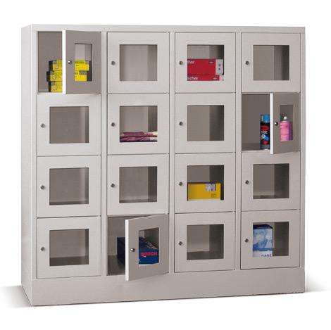 Schließfachschrank mit Sichtfenster PAVOY® mit 4 x 4 Fächern, Breite 1630 mm