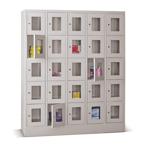 Schließfachschrank mit Sichtfenster PAVOY® mit 5 x 2 Fächern, Breite 1530 mm