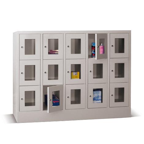 Schließfachschrank mit Sichtfenster PAVOY® mit 5 x 3 Fächern, Breite 1530 mm
