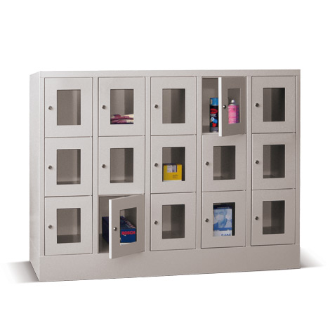 Schließfachschrank mit Sichtfenster PAVOY® mit 5 x 4 Fächern, Breite 1530 mm