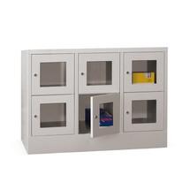 Schließfachschrank PAVOY mit Sichtfenster, 3 x 2 Fächer, HxBxT 855 x 1.230 x 500 mm
