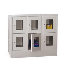 Schließfachschrank PAVOY mit Sichtfenster, 3 x 2 Fächer, HxBxT 855 x 930 x 500 mm