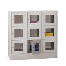 Schließfachschrank PAVOY mit Sichtfenster, 3 x 3 Fächer, HxBxT 1.187 x 1.230 x 500 mm