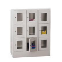 Schliessfachschrank PAVOY mit Sichtfenster, 3 x 3 Fächer, HxBxT 1.187 x 930 x 500 mm