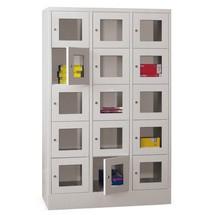 Schließfachschrank PAVOY mit Sichtfenster, 3 x 5 Fächer, HxBxT 1.850 x 930 x 500 mm