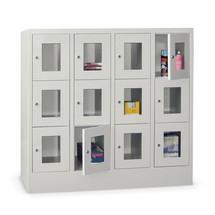 Schließfachschrank PAVOY mit Sichtfenster, 4 x 4 Fächer, HxBxT 1.518 x 1.630 x 500 mm