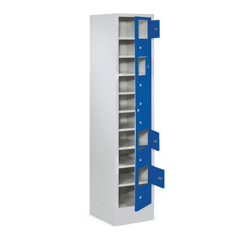 Schließfachschrank PAVOY mit Zentraltür, 1 x 10 Fächer, HxBxT 1.850 x 400 x 500 mm, mit Sockel
