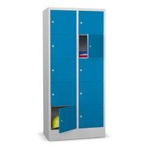 Stahl-F/ächerschrank 4 F/ächer BxTxH 600 x 500 x 1800 mm mit Sockel und Drehriegelverschluss Farbe lichtgrau RAL 7035