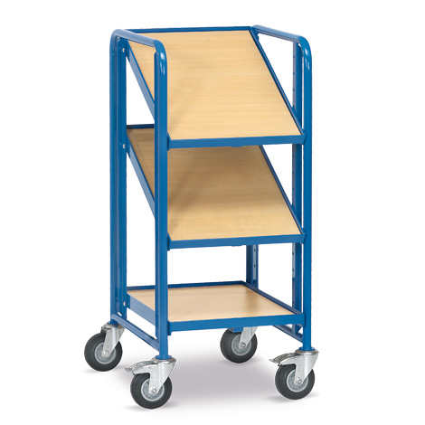Schmaler Eurokasten-Etagenwagen fetra® mit 3 Holzböden. Tragkraft 200 kg