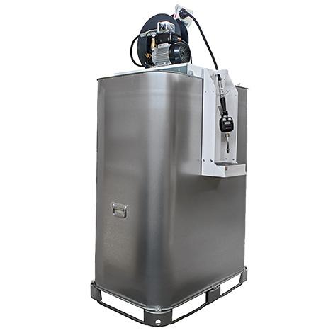 Schmierstoff-Tank mit Elektropumpe und Automatik-Schlauchaufroller