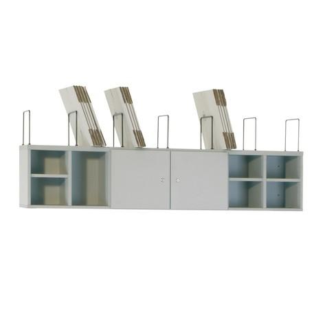Schranksystem für Packtische mit Türen, Fachteilern und Einlegeböden