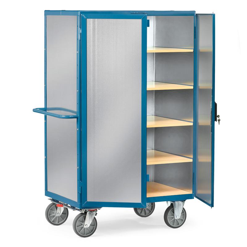 Schrankwagen fetra® mit Aluminiumwänden. Ohne Tür, 5 Holzböden
