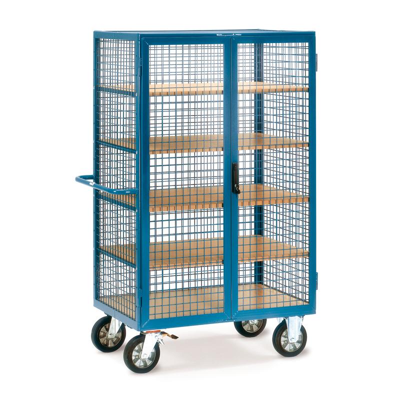 Schrankwagen fetra® mit Gitterwänden. 2 Türen, 5 Holzböden