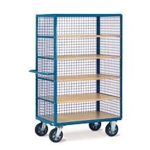 Schrankwagen fetra® mit Gitterwänden. Ohne Türen, 5 Holzböden