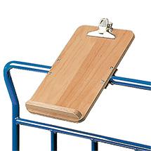 Schreibtafel für Plattformwagen fetra® mit Holzfläche. Format DIN A4