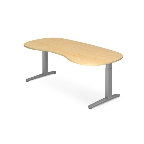 Schreibtisch, C Fuß Höhenverstellbar, Ergonomieform