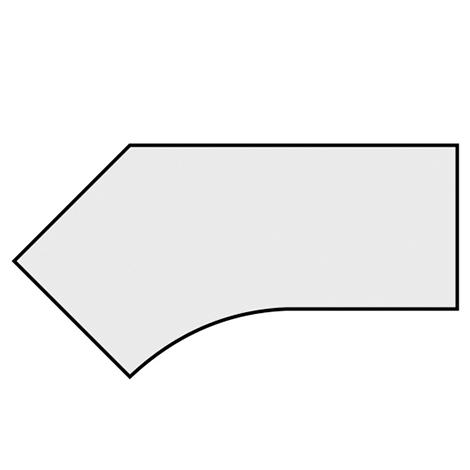 Schreibtisch Profi Freiform 135°. Höhe 650-850 mm. 4-Fuß-Gestell