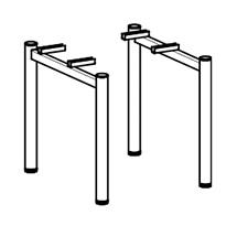 Schreibtisch Profi mit PC-Form links/rechts. Höhe 650-850 mm. 4-Fuß-Gestell