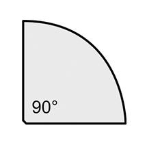 Schreibtisch Profi Viertelkreis 90°. Höhe 650-850 mm. 4-Fuß-Gestell