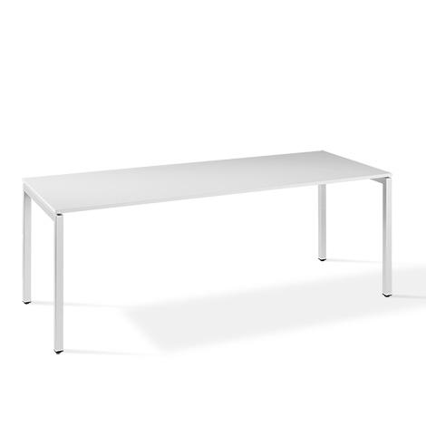Schreibtisch Simplify. Rechteckig,  Gestell weiß RAL 9016, 2 Breiten zur Auswahl
