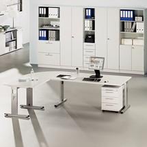 Schreibtisch Solid, Winkelform 90 °, C-Fuß-Gestell
