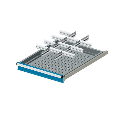 Schubladen-Einsatz mit 2 Schlitzwänden + 10 Trennblechen