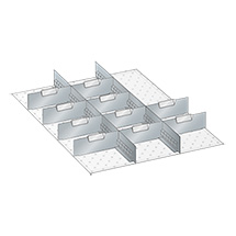 Schubladen-Einteilungsmaterial, 2 Schlitzwände und 10 Trennbleche