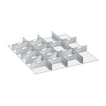 Schubladen-Einteilungsmaterial, 3 Schlitzwände, 15 Trennbleche