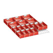 Schubladen-Einteilungsmaterial mit 18 Einsatzkästen für Schrankbreite 564 mm
