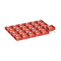 Schubladen-Einteilungsmaterial mit 24 Einsatzkästen für Schrankbreite 1023 mm