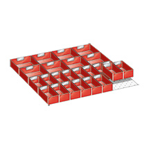 Schubladen-Einteilungsmaterial mit 24 Einsatzkästen für Schrankbreite 717 mm