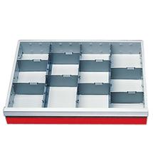 Schubladeneinteilung Front 100 mm, kleinere Aufteilung