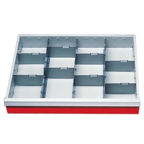 Schubladeneinteilung für Reihenwerkbänke, Höhe 100 mm