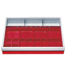 Schubladeneinteilung für Schrankbreite 680 mm. Fronthöhe 100 mm