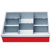 Schubladeneinteilung für Schrankbreite 680 mm. Fronthöhe 150 mm