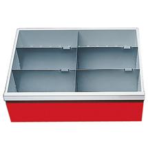 Schubladeneinteilung für Schrankbreite 680 mm. Fronthöhe 200 mm