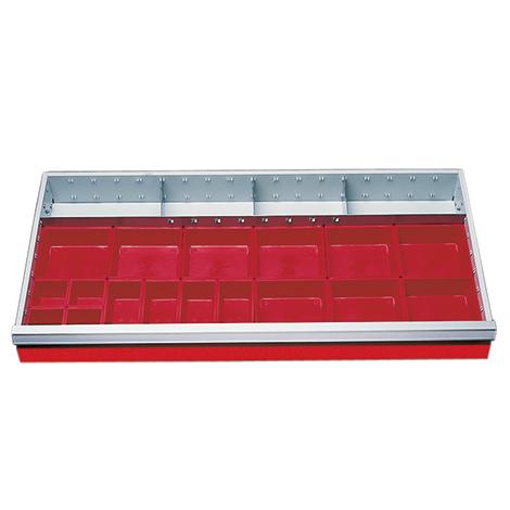 Schubladeneinteilung für Schrankbreite 980 mm. Fronthöhe 100 mm
