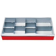 Schubladeneinteilung für Schrankbreite 980 mm. Fronthöhe 150 mm