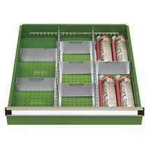 Schubladeneinteilung für Werkbänke, 2 Schlitzwände, 6 Trennwände