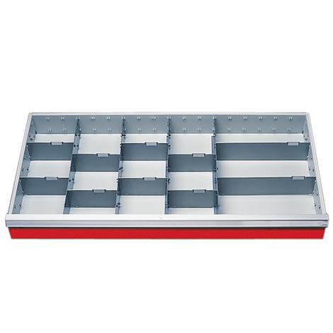 Schubladeneinteilung mit 15 Fächern, Höhe 100 mm