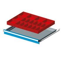 Schubladeneinteilung mit 18 Einsatzkästen für Schubladenschränke