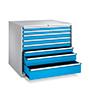 Schubladenschrank, Höhe 1 m, 100 % Auszug, 8 Schubladen