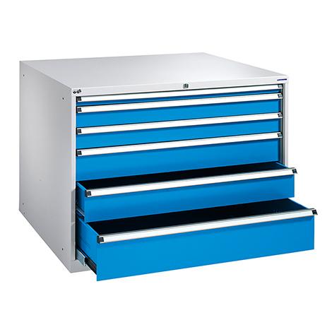 Schubladenschrank, Höhe 850 mm, 100 % Auszug, 6 Schubladen