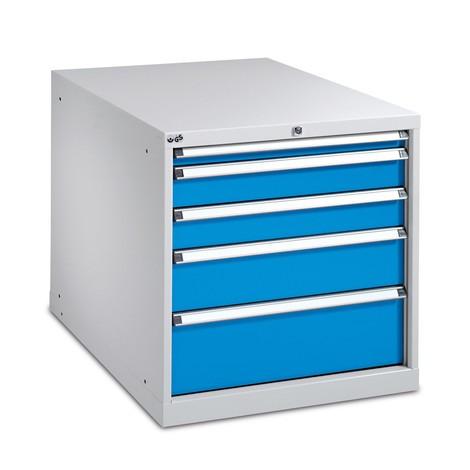 Schubladenschrank mit Einfachauszug, Schubladen 1x50 + 2x100 + 1x150 + 1x200 mm, Breite 718 mm