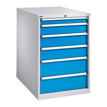 Schubladenschrank mit Einfachauszug, Schubladen 1x75 + 1x125 + 2x150 + 2x200 mm, Breite 718 mm