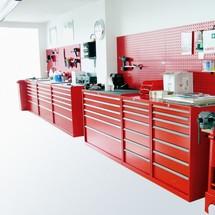 Schubladenschrank mit Einfachauszug, Schubladen 2x75 + 3x100 + 1x125 + 1x150 + 1x200 + 1x300, Breite 718 mm
